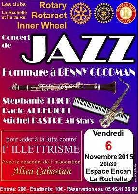 Photo : Jazz à La Rochelle : hommage à Benny Goodman et lutte contre l'illettrisme, vend. 6 novembre 2015
