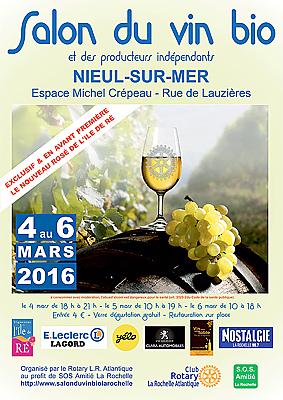 Photo : La Rochelle Agglo : Salon du vin bio à Nieul-sur-Mer du vendredi 4 au dimanche 6 mars 2016