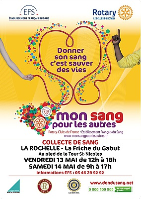 Photo : Don du sang à La Rochelle : mobilisation avec le Rotary au Gabut vend. 13 et sam. 14 mai 2016
