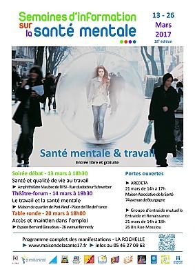 Photo : La Rochelle Santé : Semaines d'information sur la santé mentale du 13 au 26 mars 2017