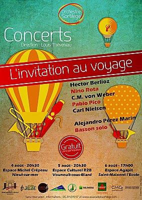 Photo : Orchestre Sortilège : concerts gratuits à Nieul-sur-Mer, Vouneuil et Saint-Maixent ; 4-5-6 août 2017